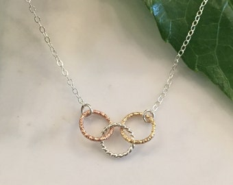 Tri-metal tiny circles necklace