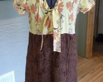Handmade Dress, Upcycled Clothing, Fall Clothing, Recycled Clothing, Pullover Dress, Unique Clothing, Refashion, Embroidery, Yellow Brown