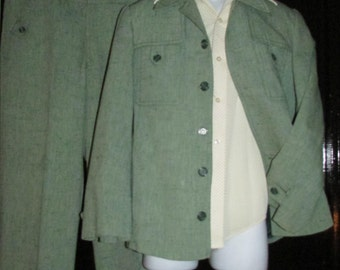 """Yugoslovia Men's Western Leisure Suit Green Flecked Chest 38"""" Waist 32"""""""