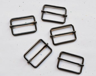 FREE SHIPPING--20 of 1 1/2  inch Gunmetal Rectangle Strap Sliders