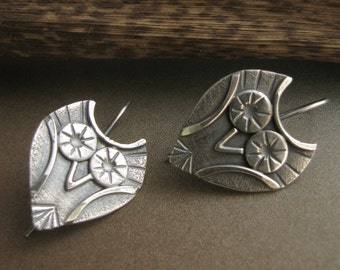 Sterling Silver Owl Earrings, Argentium  Earrings, Silversmith Jewelry, Owl Jewelry, Nature Jewelry, Metalsmith Earrings, Small Owl Earrings