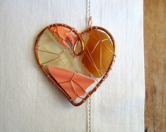 Little Peachy Heart Suncatcher Ornament with Beach Found Objects