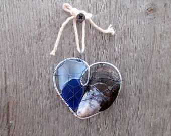 Blue Seaglass and Shell Wire Heart Suncatcher