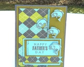 Clearance Fish Father's Day Card, Happy Father's Day with Swimming Fish In Green Blue and Charcoal