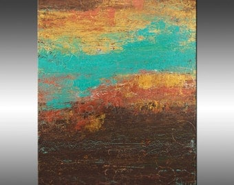 Modern Industrial 4 - Art Painting, Original Abstract Painting, Modern Art, Copper Turquoise Gold Canvas Wall Art, Contemporary Paintings