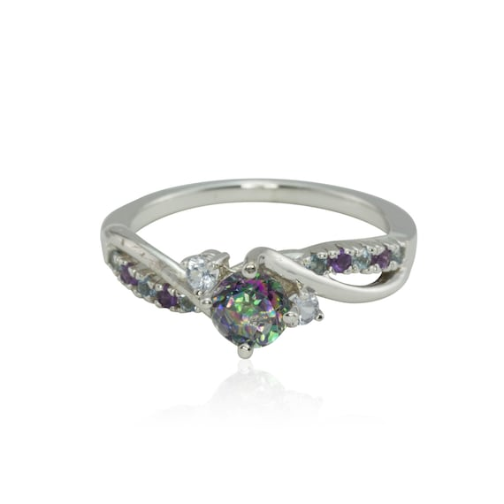 Engagement Ring Mystic Topaz Engagement Ring With White
