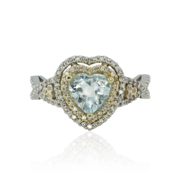 Aquamarine Engagement Ring, Heart Aquamarine Diamond Engagement Ring with Double Halo - LS1609