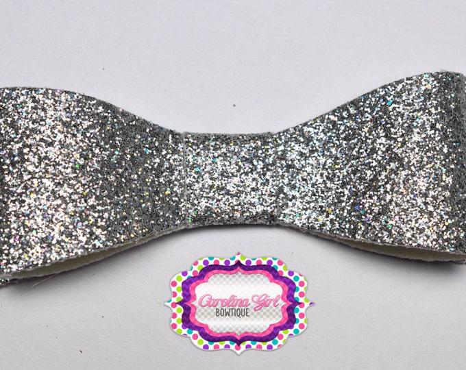 "Silver Glitter Felt Tuxedo Bow  ~ 3"" Hairbow ~ Small Hair Bow ~ Girls Barrette ~ Toddler Bow ~ Baby Hair Bow ~ Hair Clip ~ Girls Hair Bow"