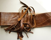 NEW//Snake Embossed Brown Leather Obi Corset Belt with Tassels