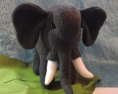 Elephant Stuffed Animal TOY MISFIT with broken tusk, African Elephant Stuffed Animal Toy MISFIT with back scarf and broken tusk