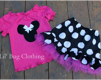 Custom Boutique Clothing Black White Hot Pink Jumbo Dot Minnie Mouse Tulle Skirt Knit Peasant Top