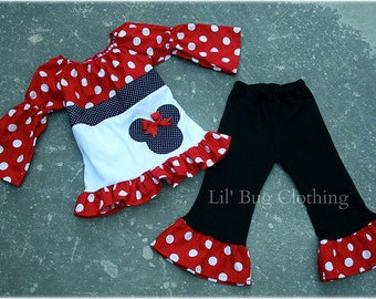 Custom Boutique Red Minnie Mouse Polka Dot  Peasant Pant Set 12m 18 24 2t 3t 4t 5t 6 7  girl
