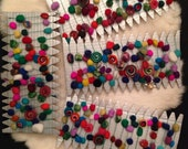 2 HOLIDAY PARTY Garlands -  Merino wool Dragon Scale and Sushi Roll Beads on strong thread with Jingle Bell tips