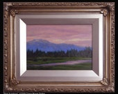 Framed, original 5 inch by 7 inch oil study -- PINK SUNDOWN -- sundown landscape, by Diana Moses Botkin