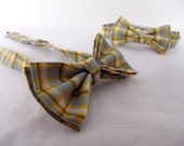 Plaid Bow Tie Bowtie - Pretied Pre Tied- Adult - Boys - Baby - Toddler - Formal Casual Wedding - Gray Yellow Grey Plaid - Geek Chic Bows