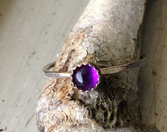 February Birthday Amethyst Stacking Ring