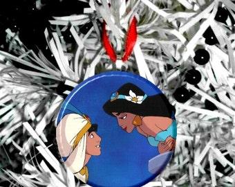 Disney Aladdin Jasmine Kiss Christmas Tree Ornament