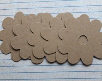 5 large Raw chipboard die cuts Flower Diecuts 2 3/8 inches