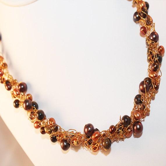 Gold Brown Statement Necklace,14 Carat, Gold Vermeil, Wire Crochet, Chocolate Pearl, Gemstone, Ready To Ship, Scheherazade, Shimmer Shimmer