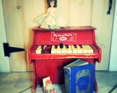 Antique, Old Red Wooden Piano,  Music Time, Jaymar,  My First Piano, Mini Piano, Blue Fairy Tale Book, Glass Eyed Haunted Doll, fPOE