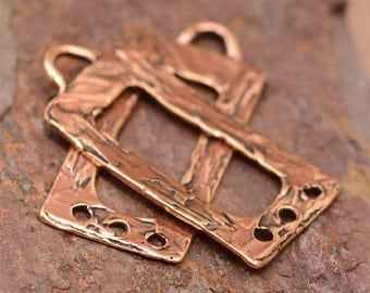Pair Rustic Rectangle Earring Dangles with 3 Holes in Copper Rose Bronze E-257, C/2