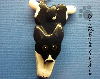 Basenji Frog Dog Pendant. Artist Hand-made Dog Art Jewelry Necklace. H3