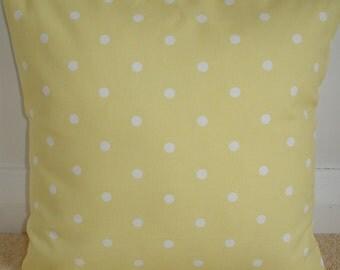 "16x16 Yellow Polka Dot Pillow Sham 16"" Decorative Cushion Cover Designer Cotton Case Slip Pillowcase White Dots 16""x16"""