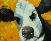 Cow painting 969 12x12 inch original animal portrait oil painting by Roz