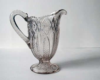 Pressed Glass Pitcher, Victorian Decor, EAPG Water Pitcher, Hobstar Band U.S. Glass Co., 1900 Serving Piece, Antique Collectible Glass
