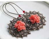 HOLIDAY SALE 35% OFF  - Earrings Coral Flowers Copper Filagree Setting Swarovski Crystals Extra Long