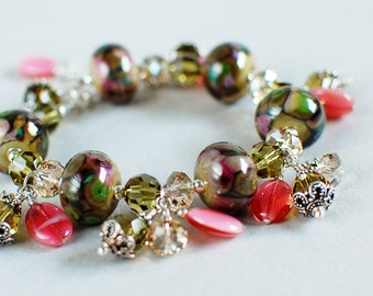 Garden View Lampwork, Crystal and Sterling Bracelet - Pink and Green - Garden Colors - Artisan Lampwork Bracelet