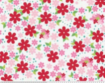 SALE Riley Blake Hoo's in the Forest Pink Floral C2563-pink cotton quilt fabric by the yard