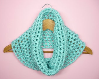 COWL SCARF Infinity Robins Egg Blue Aqua Teal Turquoise Neck Warmer Crochet Womens Girls Soft Kids Adult