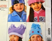 Vintage Sewing Pattern McCall's 4209  Girls' Hats UNCUT Complete
