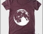 Full MOON American Apparel tee tshirt shirt Heathered vintage style ladies scoop top