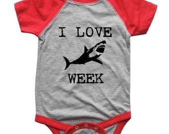 I Love SHARK Week BABY Bodysuit Raglan one piece shirt creeper Baseball jersey screenprint
