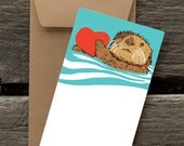 Otter with Heart -- 8 Blank flat cards and envelopes