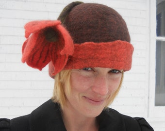 Felted Hat for Ladies.  OOAK Art Hat - Brown and Coral Flower Hat - Handmade in Canada