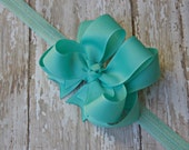 Aqua Headband Double Layered Infant Toddler Bowband Aqua Baby Headband Aqua Headband Baby Headband Aqua Bow