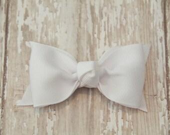 White Tuxedo Style Toddler Hair Bow 3 Inch Alligator Clip Baby Hairbow