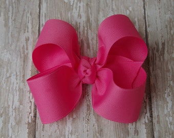 """Hot Pink Large Hair Bow 4"""" Alligator Clip Girls Hairbow Hot Pink Large Girls Hair Bow Hot Pink Large Hair Bow"""