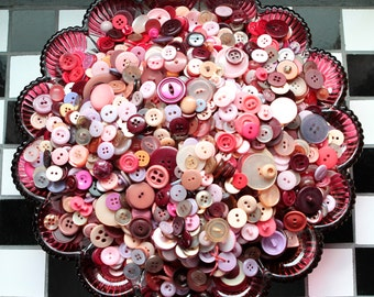 Buttons - Supplies - 100 Pink Buttons, Lavender Vintage Button Lot, Burgundy Buttons, Lilac Buttons, craft buttons, bulk buttons
