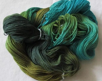 Handpainted Soft 3 ply Ring Spun Cotton Yarn  -DRAGONFLY 490 yds-