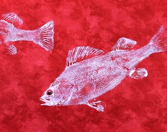 Perch Original GYOTAKU Fish Art onWarm Red Cloth Lake House Decor