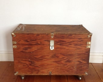 Vintage Wood Trunk on Casters,  Antique Hardware, Leather Strap Side Handles Trunk
