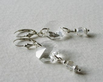Sterling Silver Earrings made with Vintage Glass Chandelier Drops and Crystals