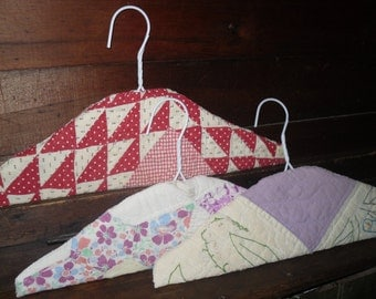 old Quilt Covered Hangers set three Vintage American made heirloom cutter quilts use or display
