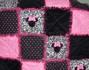 Made 2 Order Personalized  Shabby  Baby  Girl Pink N Black Damask  Minky  Minnie Mouse  Rag Quilt  Minky Chenille