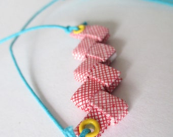 Eco Necklace Made With Reclaimed Security Envelopes - Colorful
