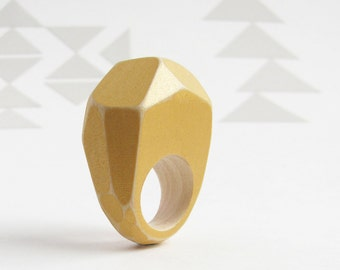Faceted Wood Ring, Modern Geometric Jewelry, Metallic Gold, Wood Statement Ring, Chunky Dramatic Jewelry